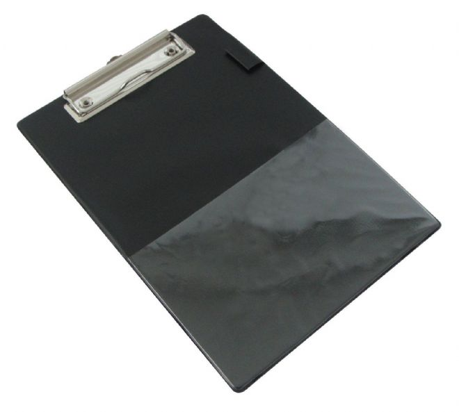 4 x RAPESCO A5 CLIPBOARD BLACK PVC COVERED CLIP BOARD with Pen Holder & Pocket